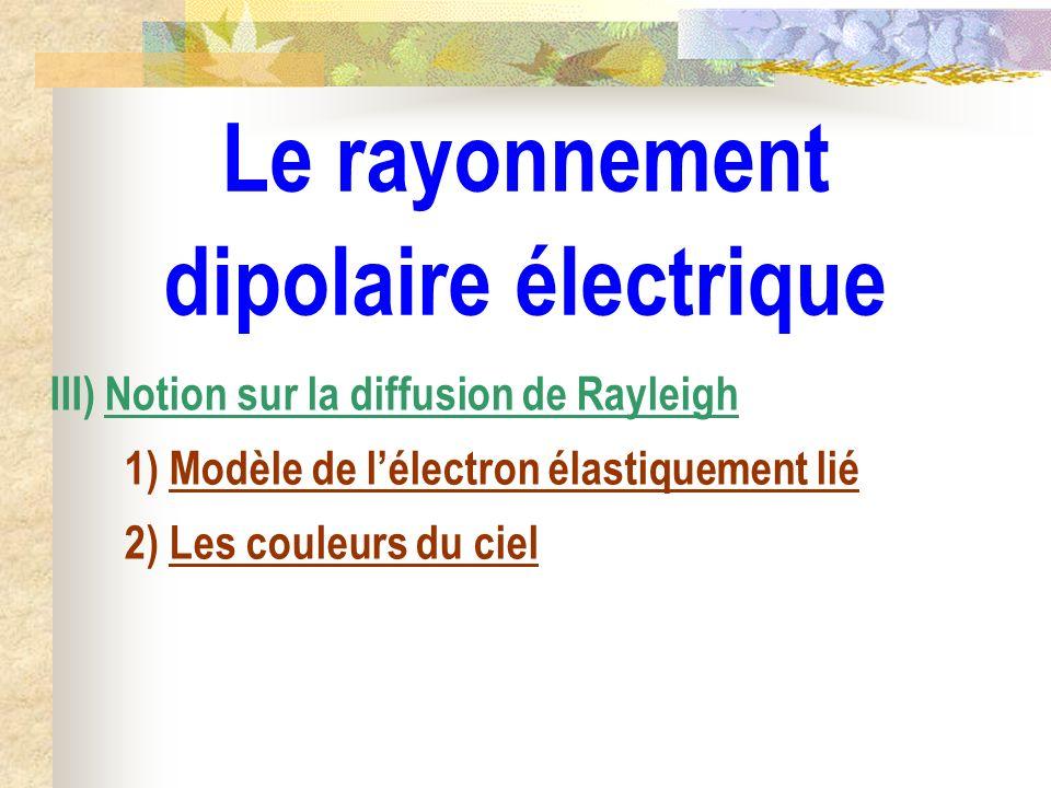Le rayonnement dipolaire électrique III) Notion sur la diffusion de Rayleigh 1) Modèle de lélectron élastiquement lié 2) Les couleurs du ciel