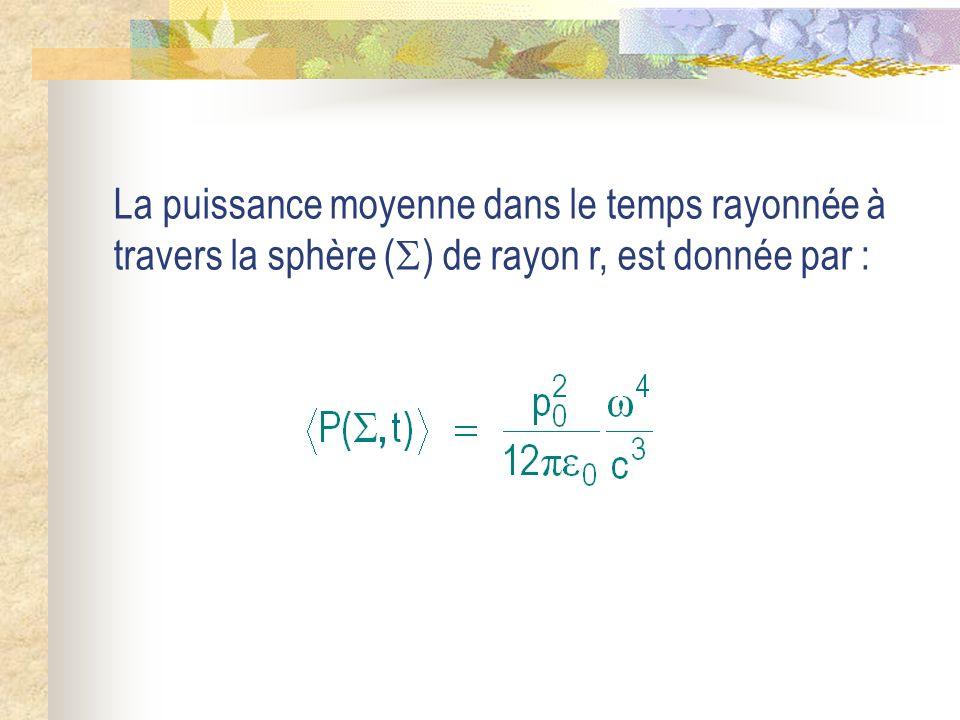 La puissance moyenne dans le temps rayonnée à travers la sphère ( ) de rayon r, est donnée par :