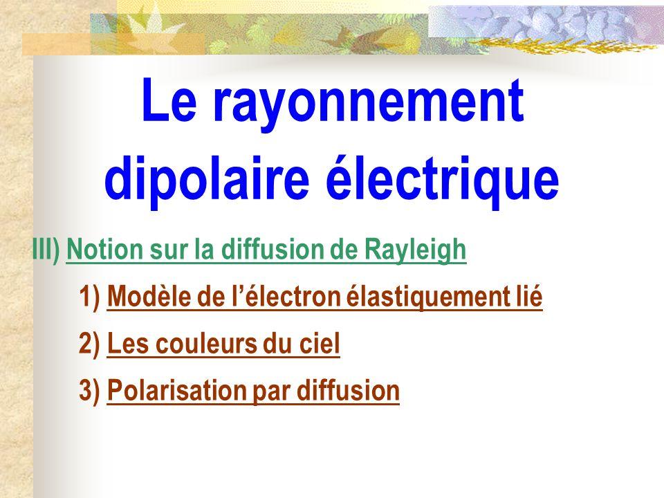 Le rayonnement dipolaire électrique III) Notion sur la diffusion de Rayleigh 1) Modèle de lélectron élastiquement lié 2) Les couleurs du ciel 3) Polar