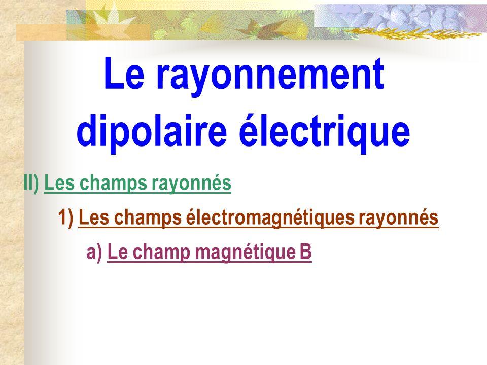 Le rayonnement dipolaire électrique II) Les champs rayonnés 1) Les champs électromagnétiques rayonnés a) Le champ magnétique B