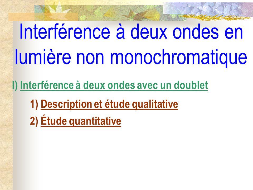 Interférence à deux ondes en lumière non monochromatique I) Interférence à deux ondes avec un doublet 1) Description et étude qualitative 2) Étude qua