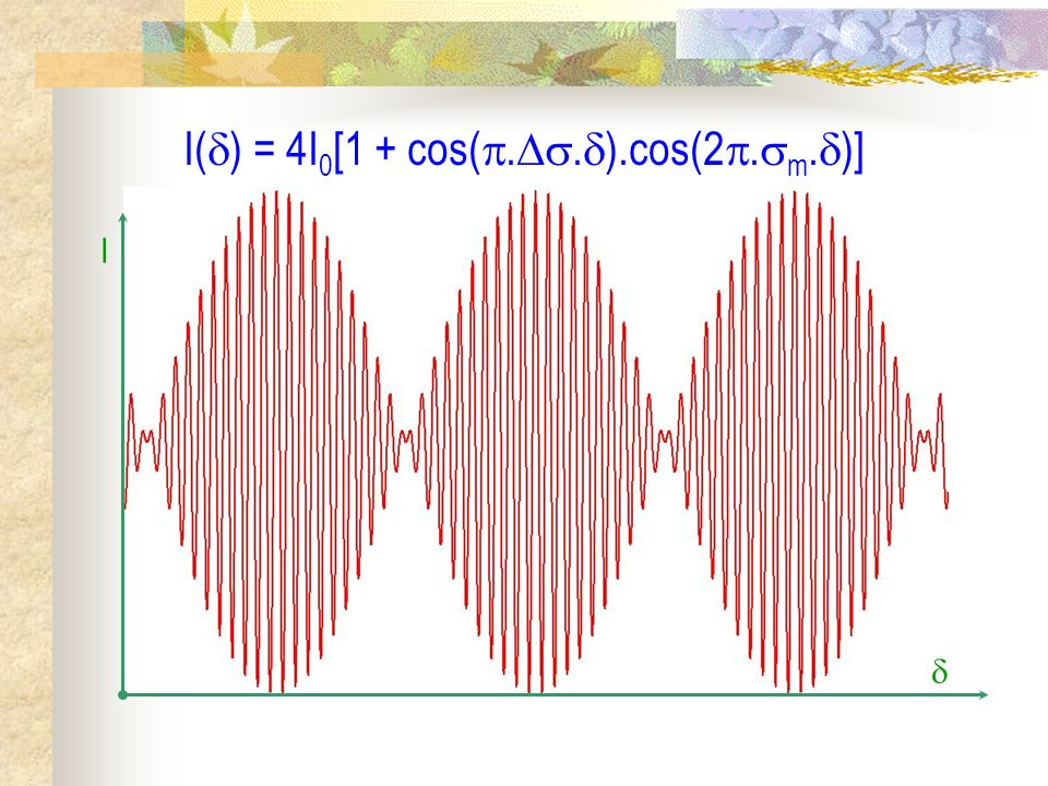 Interférence à deux ondes en lumière non monochromatique II) Source quasi monochromatique 1) Rappels et modélisation 2) Étude quantitative