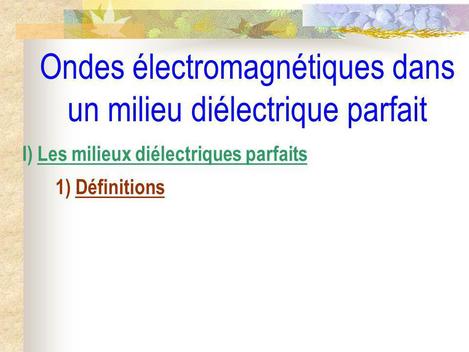 Ondes électromagnétiques dans un milieu diélectrique parfait I) Les milieux diélectriques parfaits 1) Définitions 2) Polarisation dun milieu diélectrique a) Phénomène de polarisation
