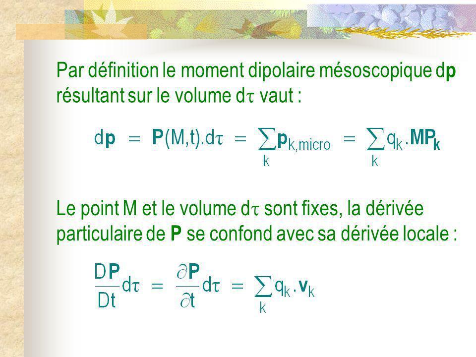 Par définition le moment dipolaire mésoscopique d p résultant sur le volume d vaut : Le point M et le volume d sont fixes, la dérivée particulaire de