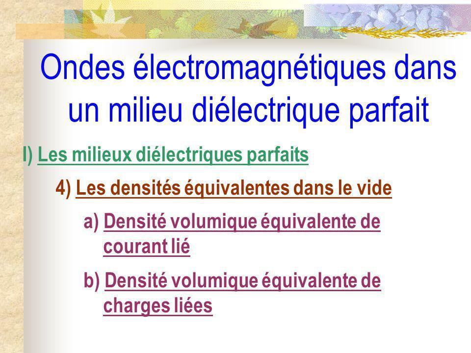 Ondes électromagnétiques dans un milieu diélectrique parfait I) Les milieux diélectriques parfaits 4) Les densités équivalentes dans le vide a) Densit