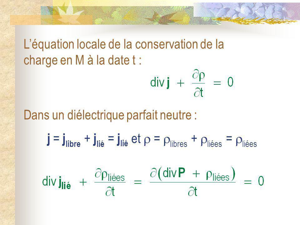 j = j libre + j lié = j lié et = libres + liées = liées Léquation locale de la conservation de la charge en M à la date t : Dans un diélectrique parfa