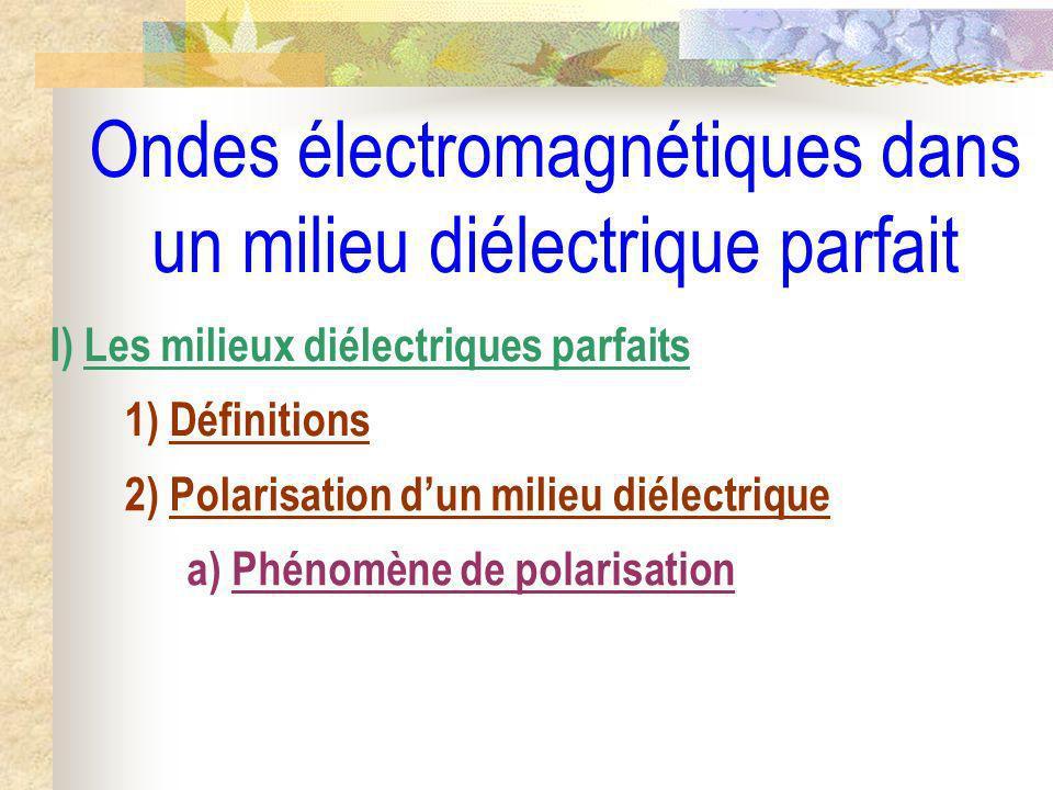 Ondes électromagnétiques dans un milieu diélectrique parfait I) Les milieux diélectriques parfaits 1) Définitions 2) Polarisation dun milieu diélectrique a) Phénomène de polarisation b) Les différents types de polarisation
