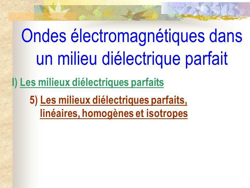 Ondes électromagnétiques dans un milieu diélectrique parfait I) Les milieux diélectriques parfaits 5) Les milieux diélectriques parfaits, linéaires, h