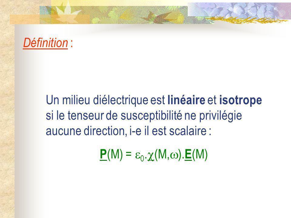 Un milieu diélectrique est linéaire et isotrope si le tenseur de susceptibilité ne privilégie aucune direction, i-e il est scalaire : P (M) = 0. (M, )