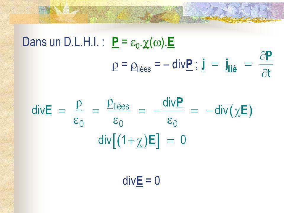 Dans un D.L.H.I. : = liées = – div P ; div E = 0 P = 0. ( ). E