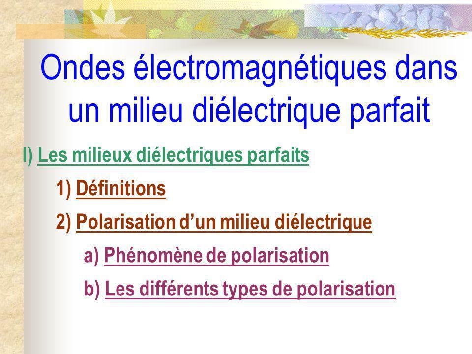 Ondes électromagnétiques dans un milieu diélectrique parfait I) Les milieux diélectriques parfaits 1) Définitions 2) Polarisation dun milieu diélectri