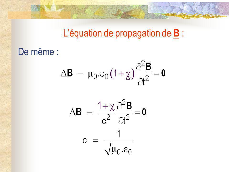 De même : Léquation de propagation de B :