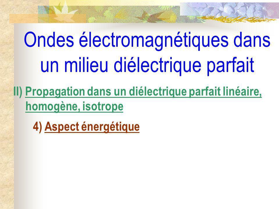 Ondes électromagnétiques dans un milieu diélectrique parfait II) Propagation dans un diélectrique parfait linéaire, homogène, isotrope 4) Aspect énerg