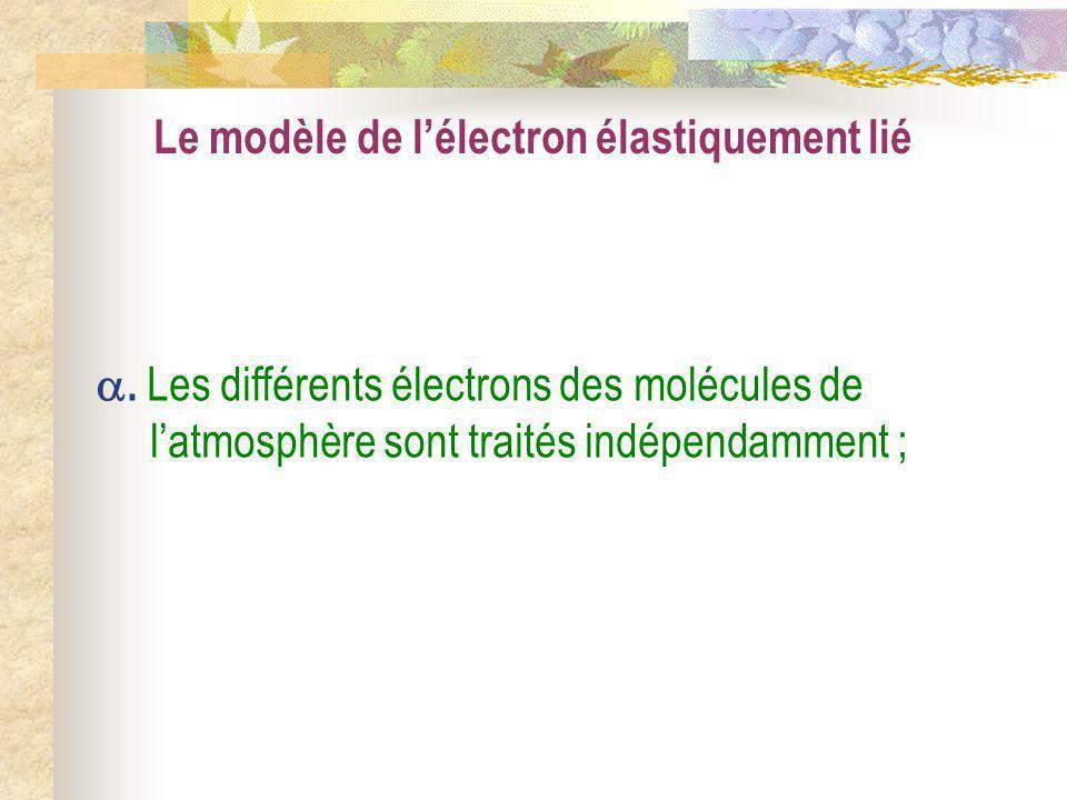 Le modèle de lélectron élastiquement lié. Les différents électrons des molécules de latmosphère sont traités indépendamment ;