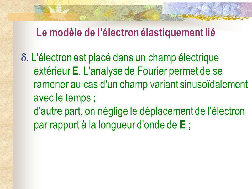 Le modèle de lélectron élastiquement lié. L'électron est placé dans un champ électrique extérieur E. L'analyse de Fourier permet de se ramener au cas