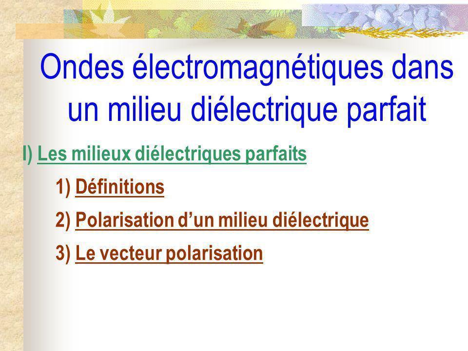 Ondes électromagnétiques dans un milieu diélectrique parfait II) Propagation dans un diélectrique parfait linéaire, homogène, isotrope 1) Équation de propagation