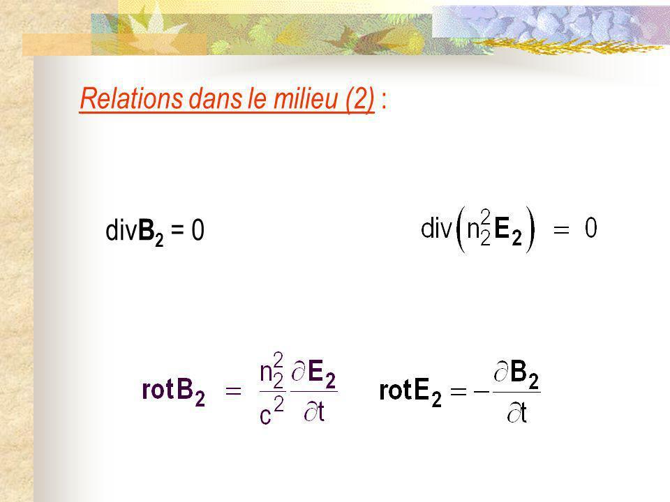 Relations dans le milieu (2) : div B 2 = 0