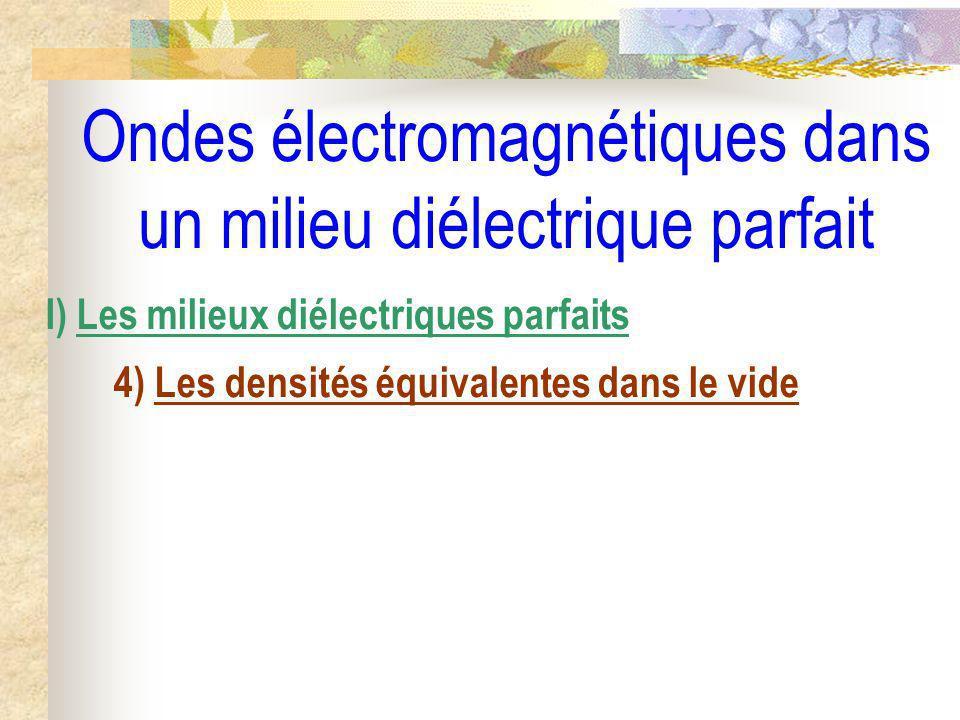 Ondes électromagnétiques dans un milieu diélectrique parfait I) Les milieux diélectriques parfaits 4) Les densités équivalentes dans le vide a) Densité volumique équivalente de courant lié
