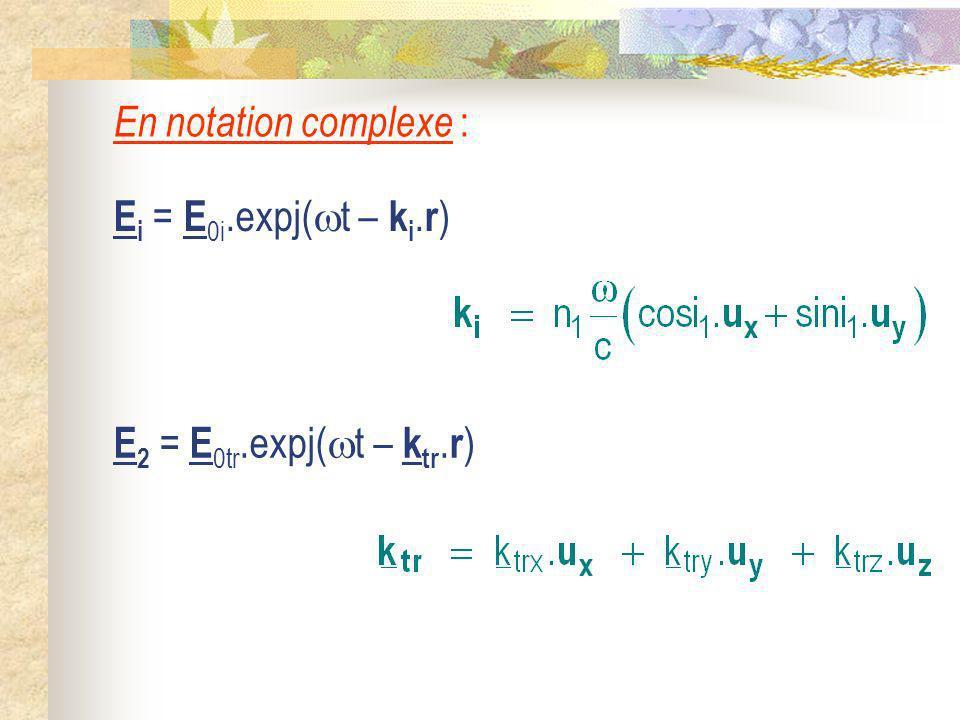 En notation complexe : E i = E 0i.expj( t – k i. r ) E 2 = E 0tr.expj( t – k tr. r )