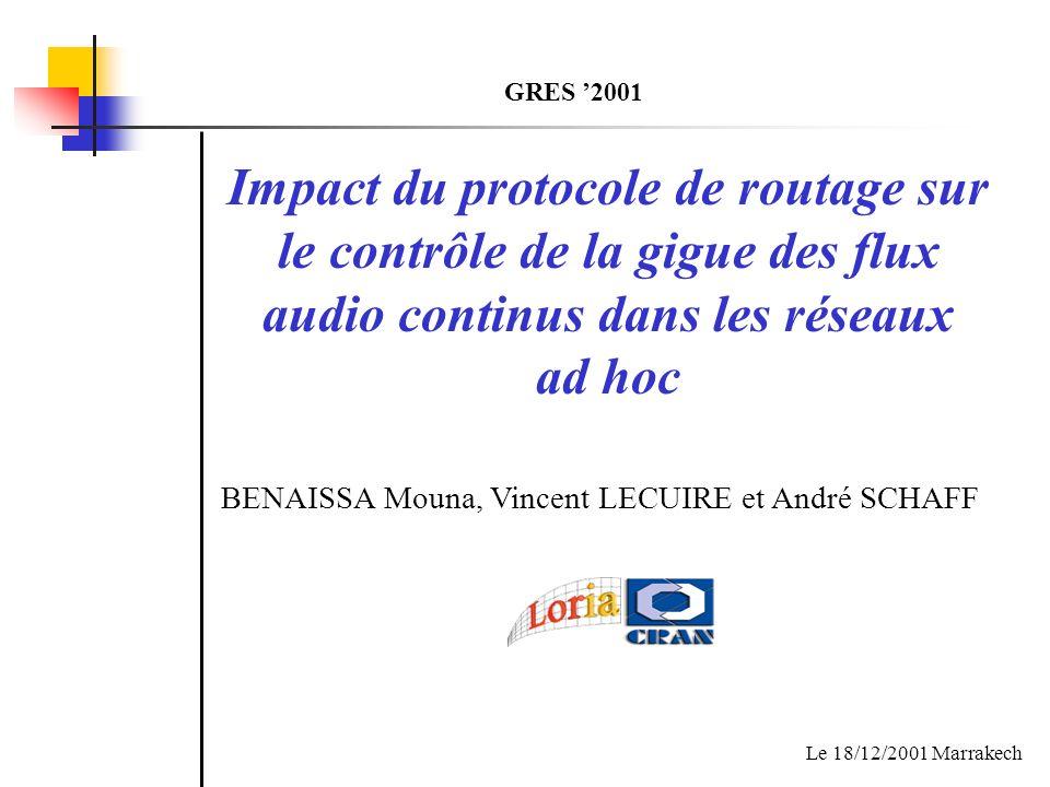 Impact du protocole de routage sur le contrôle de la gigue des flux audio continus dans les réseaux ad hoc Le 18/12/2001 Marrakech BENAISSA Mouna, Vin
