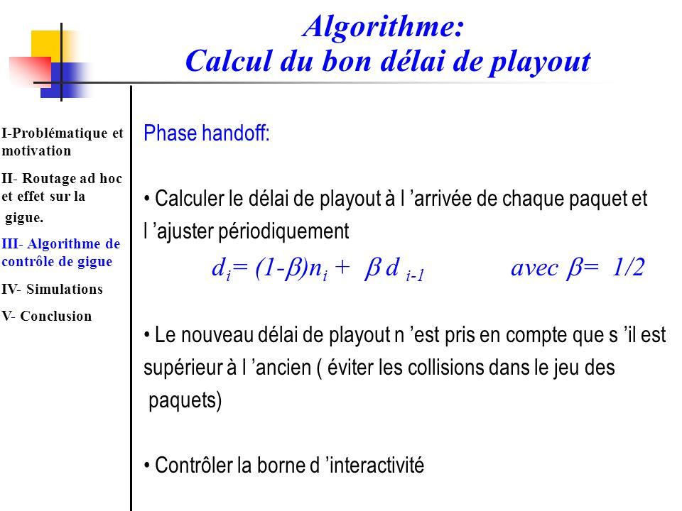 Algorithme: Calcul du bon délai de playout Phase handoff: Calculer le délai de playout à l arrivée de chaque paquet et l ajuster périodiquement d i =