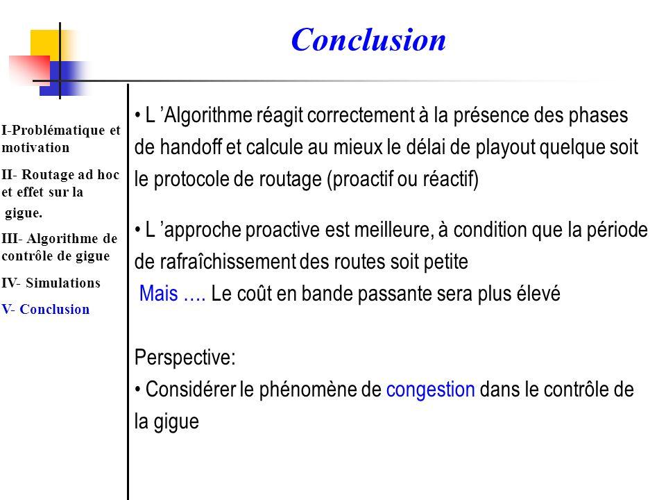 L Algorithme réagit correctement à la présence des phases de handoff et calcule au mieux le délai de playout quelque soit le protocole de routage (pro