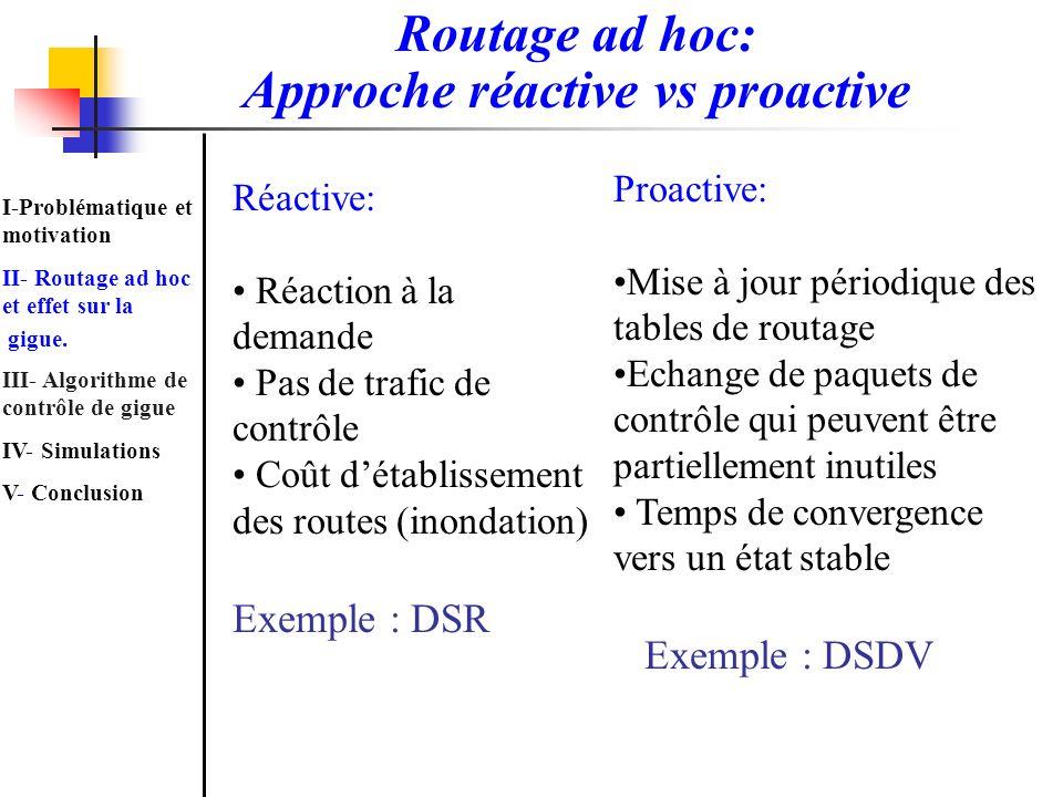 Routage ad hoc: Approche réactive vs proactive Proactive: Mise à jour périodique des tables de routage Echange de paquets de contrôle qui peuvent être