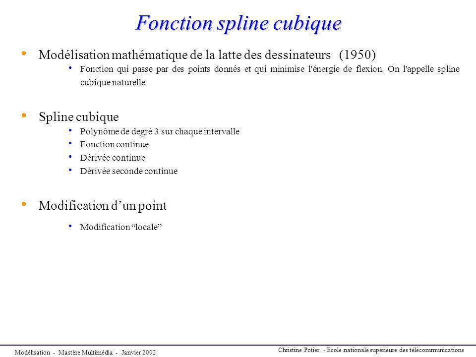 Modélisation - Mastère Multimédia - Janvier 2002 Christine Potier - Ecole nationale supérieure des télécommunications Fonction spline cubique Fonction