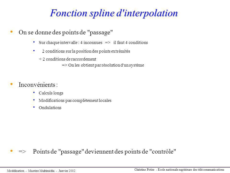 Modélisation - Mastère Multimédia - Janvier 2002 Christine Potier - Ecole nationale supérieure des télécommunications Fonction spline d'interpolation