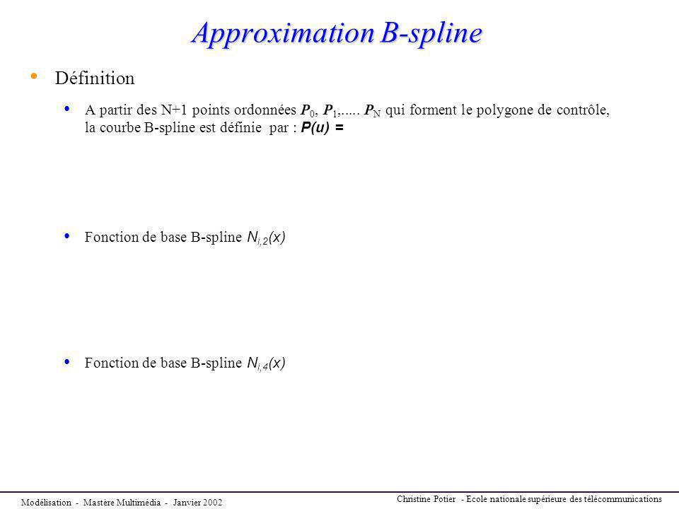 Modélisation - Mastère Multimédia - Janvier 2002 Christine Potier - Ecole nationale supérieure des télécommunications Approximation B-spline Définitio