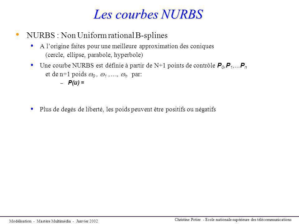 Modélisation - Mastère Multimédia - Janvier 2002 Christine Potier - Ecole nationale supérieure des télécommunications Les courbes NURBS NURBS : Non Un