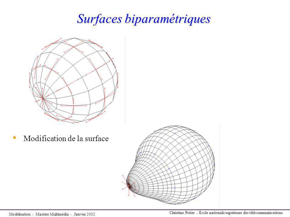 Modélisation - Mastère Multimédia - Janvier 2002 Christine Potier - Ecole nationale supérieure des télécommunications Surfaces biparamétriques Modific