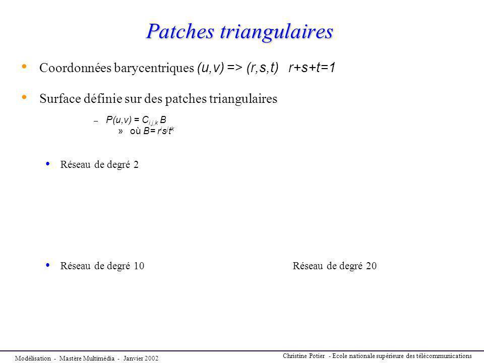 Modélisation - Mastère Multimédia - Janvier 2002 Christine Potier - Ecole nationale supérieure des télécommunications Patches triangulaires Coordonnée