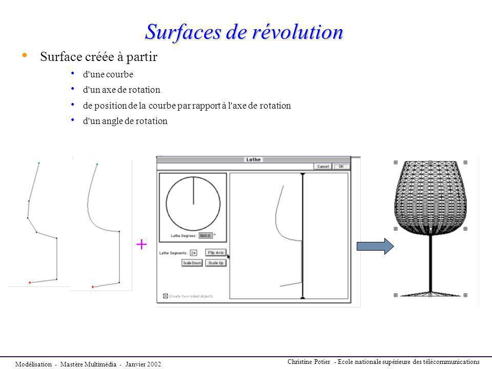 Modélisation - Mastère Multimédia - Janvier 2002 Christine Potier - Ecole nationale supérieure des télécommunications Surfaces de révolution Surface c