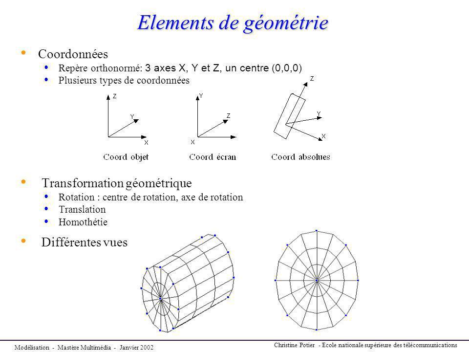 Modélisation - Mastère Multimédia - Janvier 2002 Christine Potier - Ecole nationale supérieure des télécommunications Elements de géométrie Coordonnée