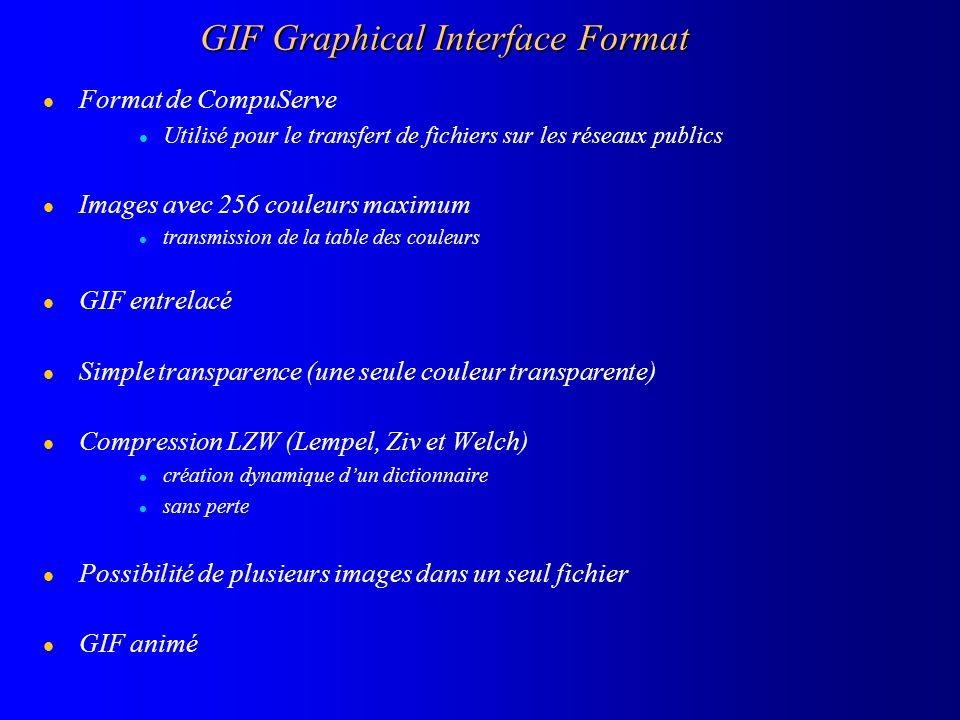 GIF Graphical Interface Format l Format de CompuServe l Utilisé pour le transfert de fichiers sur les réseaux publics l Images avec 256 couleurs maxim