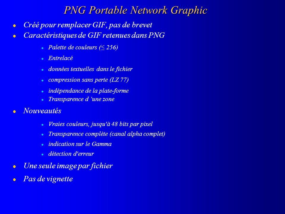 PNG Portable Network Graphic l Créé pour remplacer GIF, pas de brevet l Caractéristiques de GIF retenues dans PNG l Palette de couleurs ( 256) l Entre
