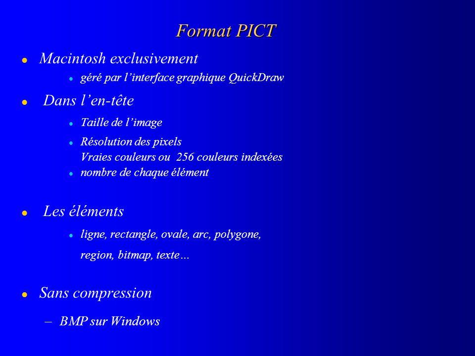 Format PICT l Macintosh exclusivement l géré par linterface graphique QuickDraw l Dans len-tête l Taille de limage l Résolution des pixels Vraies coul