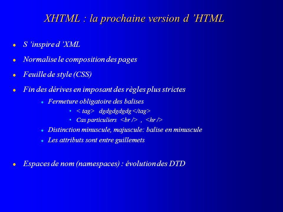 XHTML : la prochaine version d HTML l S inspire d XML l Normalise le composition des pages l Feuille de style (CSS) l Fin des dérives en imposant des