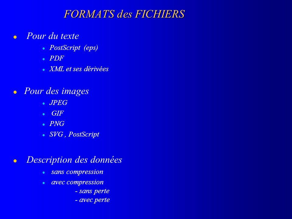 FORMATS des FICHIERS l Pour du texte l PostScript (eps) l PDF l XML et ses dérivées l Pour des images l JPEG l GIF l PNG l SVG, PostScript l Descripti