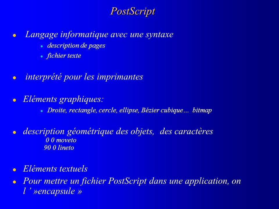 PostScript l Langage informatique avec une syntaxe l description de pages l fichier texte l interprété pour les imprimantes l Eléments graphiques: l D
