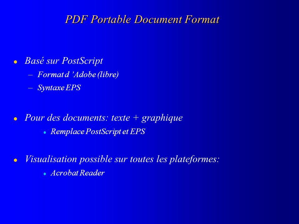 PDF Portable Document Format l Basé sur PostScript –Format d Adobe (libre) –Syntaxe EPS l Pour des documents: texte + graphique l Remplace PostScript