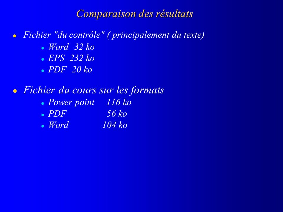 Comparaison des résultats l Fichier