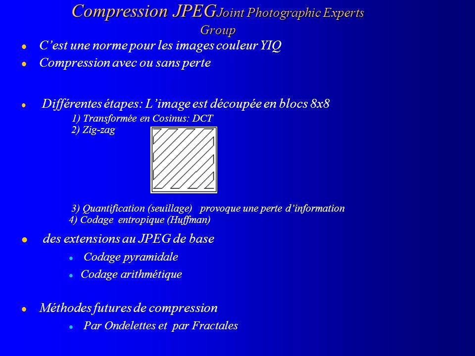 Compression JPEG Joint Photographic Experts Group l Cest une norme pour les images couleur YIQ l Compression avec ou sans perte l Différentes étapes: