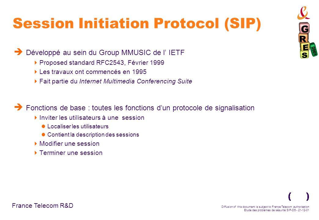 France Telecom R&D Diffusion of this document is subject to France Telecom authorization Etude des problèmes de sésurité SIP-D26 - 21-12-01 Conclusions