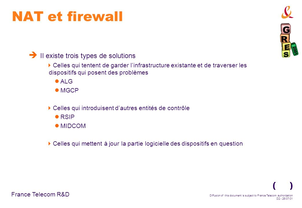 Diffusion of this document is subject to France Telecom authorization D2 - 26/07/01 NAT et firewall Il existe trois types de solutions Celles qui tent