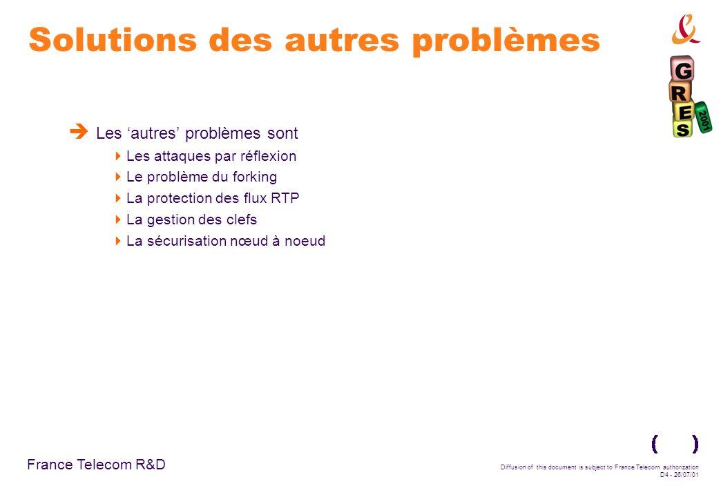 France Telecom R&D Diffusion of this document is subject to France Telecom authorization D4 - 26/07/01 Solutions des autres problèmes Les autres probl
