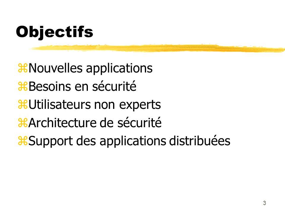 3 Objectifs zNouvelles applications zBesoins en sécurité zUtilisateurs non experts zArchitecture de sécurité zSupport des applications distribuées