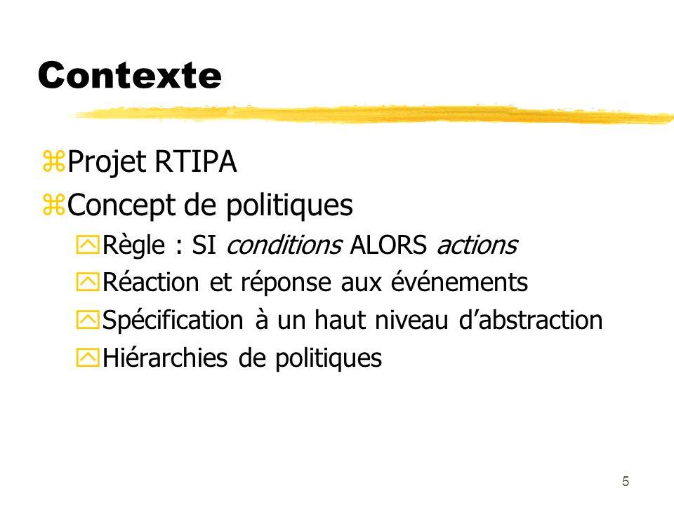 5 Contexte zProjet RTIPA zConcept de politiques yRègle : SI conditions ALORS actions yRéaction et réponse aux événements ySpécification à un haut nive