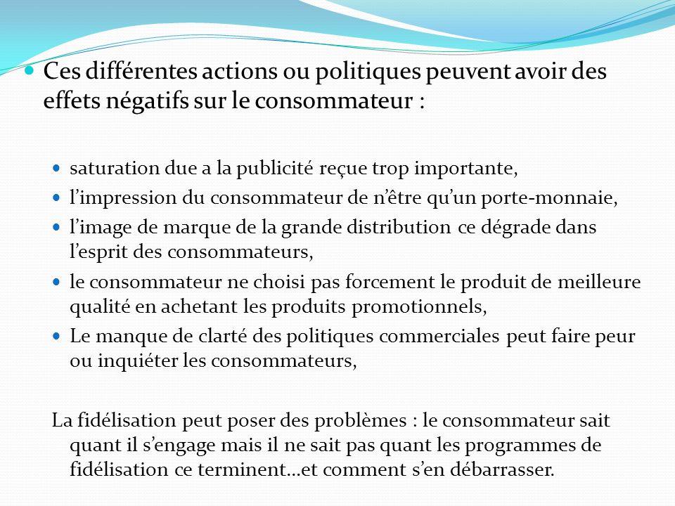 Ces différentes actions ou politiques peuvent avoir des effets négatifs sur le consommateur : saturation due a la publicité reçue trop importante, lim